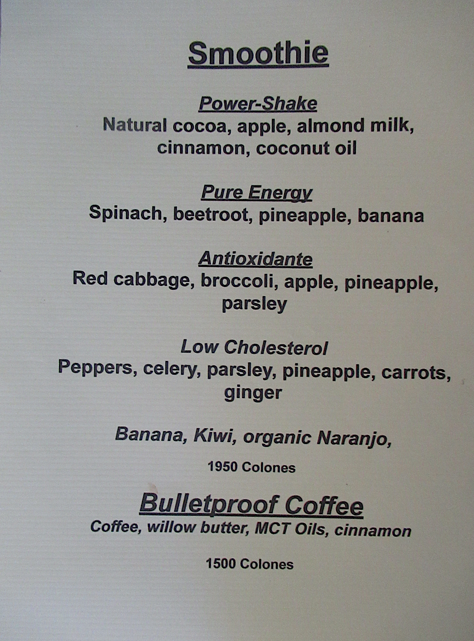Smoothies costa Rica